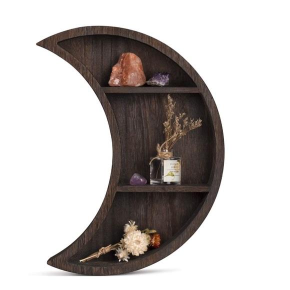 Wall Mounted Moon Shelf Wooden Floating Shelves
